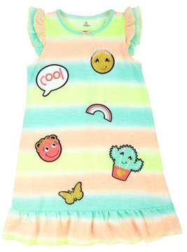 Petit Lem Little Girl's Emoji Stripe Roundneck Nightgown