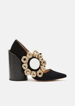Jacquemus Leather Buckle Shoes Black/Black Heels Size: EU 36