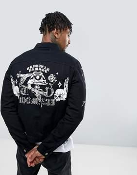 Criminal Damage Denim Jacket With Back Print