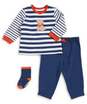 Little Me Baby Boy's Three-Piece Dog Graphic Top, Cotton Pants, and Socks Set