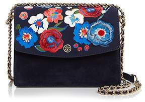 Tory Burch Parker Convertible Embroidered Suede Shoulder Bag - TORY NAVY/GOLD - STYLE
