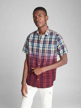 Gap Short Sleeve Dip-Dye Plaid Shirt