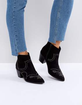 New Look Studded Western Block Heel Ankle Boot