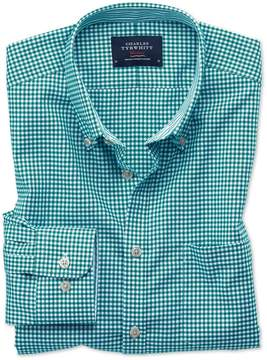 Charles Tyrwhitt Extra Slim Fit Button-Down Non-Iron Oxford Gingham Green Cotton Casual Shirt Single Cuff Size Large