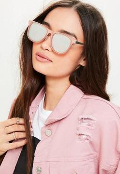 Missguided Pink Metal Flat Bar Mirrored Sunglasses