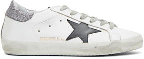 Golden Goose Deluxe Brand SSENSE Exclusive White and Silver Glitter Superstar Sneakers