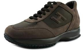 Hogan New Interactive Mod H 3d Youth Round Toe Leather Brown Sneakers.