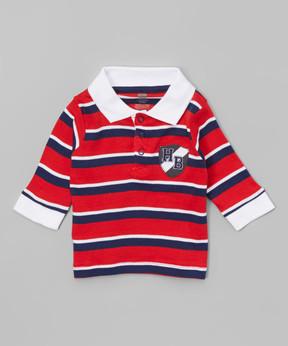 Hudson Baby Red & Navy Stripe HB Crest Button-Front Top - Newborn & Infant