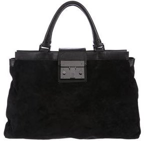 Tory Burch Holland Suede Satchel - BLACK - STYLE