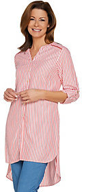 C. Wonder As Is Striped Button Front Extra Long Tunic Blouse