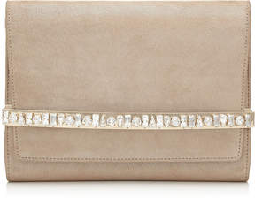 Jimmy Choo BOW Sand Shimmer Suede Clutch Bag with Crystal Bar