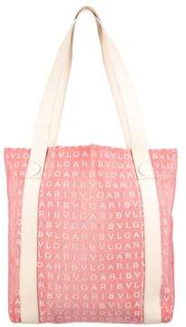 Bvlgari Leather-Trimmed Logo Tote