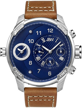 JBW G3 Stainless Steel Diamond Case Brown Leather Strap Men's Watch