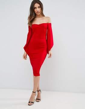 Club L Bardot Detail Flute Sleeve Midi Dress