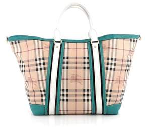 Burberry Pre-owned: Jameson Tote Haymarket Coated Canvas And Leather Medium. - BLUE - STYLE