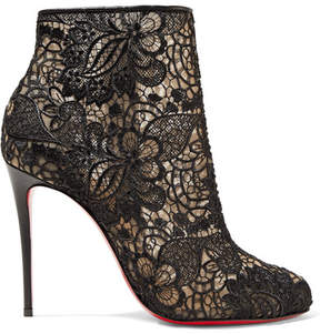 Christian Louboutin Miss Tennis 100 Guipure Lace Ankle Boots - Black