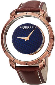Akribos XXIV Mens Brown Strap Watch-A-856rgbr