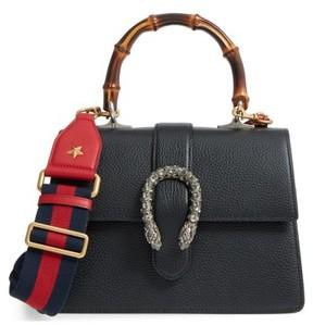 Gucci Medium Dionysus Leather Top Handle Satchel - Black - BLACK - STYLE