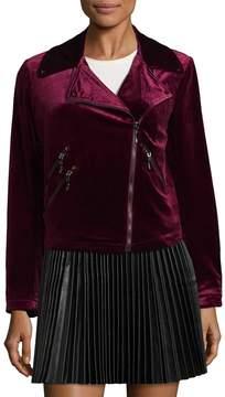 Bagatelle Women's Velvet Biker Jacket