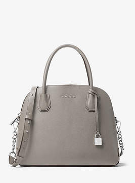 Michael Kors Mercer Large Leather Dome Satchel - GREY - STYLE