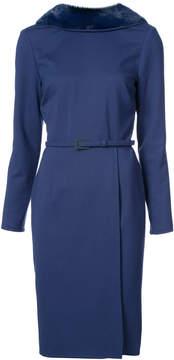 Carolina Herrera fur collar midi dress