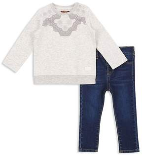 7 For All Mankind Girls' Embroidered Sweatshirt & Skinny Jeans Set - Baby