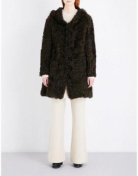 Drome Ladies Brown Hooded Shearling Coat