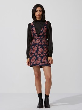 Frank and Oak Jacquard Pinafore Dress in Pink