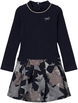 Lili Gaufrette Navy Ribbed Top and Star Detail Skirt Dress