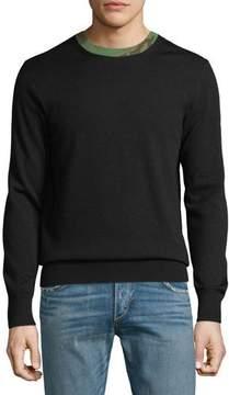 Rag & Bone Men's Camouflage-Trim Wool Sweater