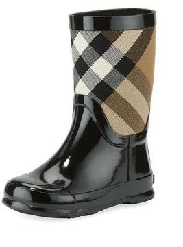 Burberry Rainmoor Check Rubber Rainboot, Black, Youth