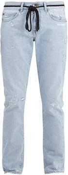 Off-White Type-printed distressed slim-leg jeans