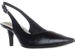 Alfani A35 Babbsy Slingback Kitten Pointed-toe Heels, Black Exotic.