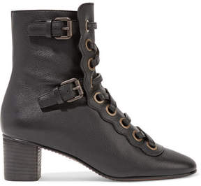 Chloé Orson Lace-up Textured-leather Ankle Boots - Black