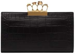 Alexander McQueen Knuckle Embellished Leather Clutch