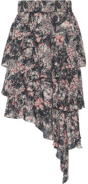 Etoile Isabel Marant Jeezon Asymmetric Tiered Printed Georgette Skirt - Pink