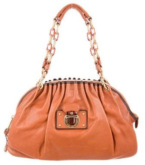 Marc Jacobs Ruched Leather Shoulder Bag - BROWN - STYLE