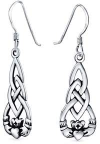 Celtic Bling Jewelry Sterling Silver Knot Claddagh Dangle Earrings.