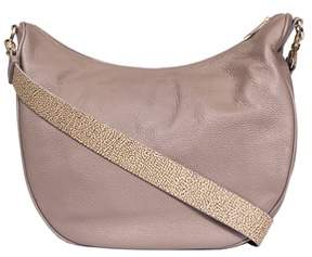 Borbonese Women's Beige Leather Shoulder Bag.