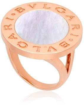 Bvlgari Mother of Pearl 18k Rose Gold Ring- Size 55