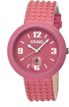 Crayo Jazz Hot Pink Dial Hot Pink Leather Ladies Watch