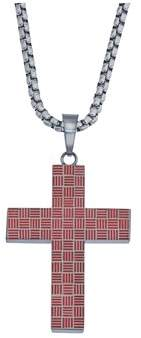 Armani Exchange Jewelry Mens Cross Patterned Pendant In Stainless Steel.