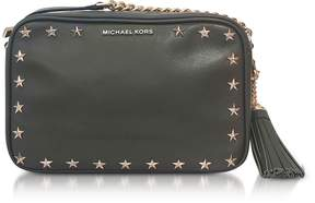 Michael Kors Ginny Medium Olive Leather Camera Bag w/Stars - OLIVE - STYLE