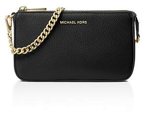 MICHAEL Michael Kors Chain Pouchette Medium Leather Clutch - BLACK/GOLD - STYLE