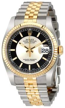 Rolex Oyster Perpetual Datejust 36 Silver and Black Dial Stainless Steel and 18K Yellow Gold Jubilee Bracelet Automatic Men's Watch 116233SBKSJ