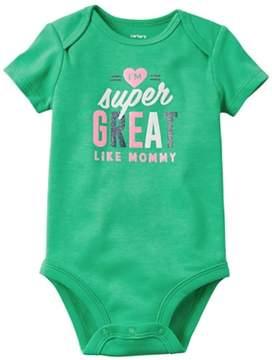 Carter's Infant Girls Green I'm Super Great Like Mommy Bodysuit Creeper Shirt 12m