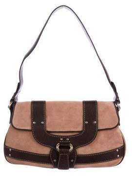 Tod's Leather-Trimmed Suede Shoulder Bag