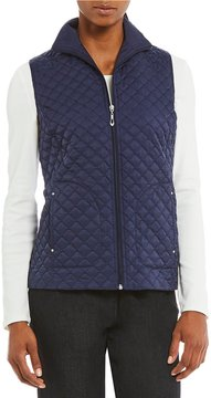 Allison Daley Zip-Front Diamond Quilted Vest