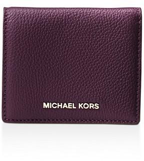 MICHAEL Michael Kors Jet Set Travel Flap Leather Card Case - DAMSON PURPLE/GOLD - STYLE