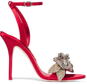 Sophia Webster Lilico Crystal-embellished Satin Sandals - Red